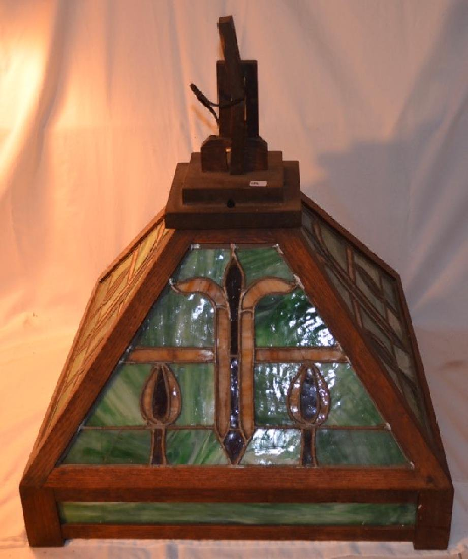 Stained Glass and Wood Hanging Lamp
