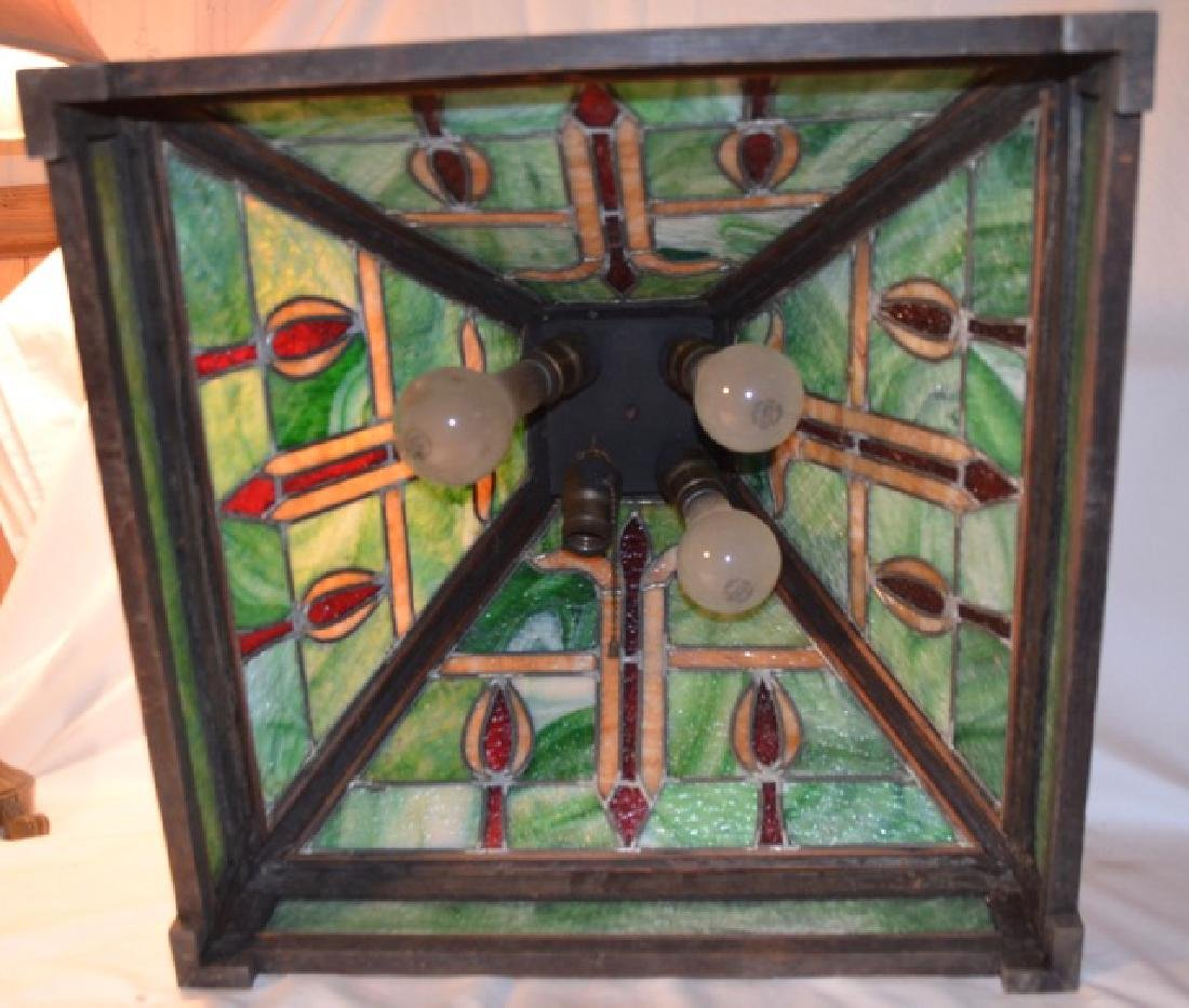 Stained Glass and Wood Hanging Lamp - 2