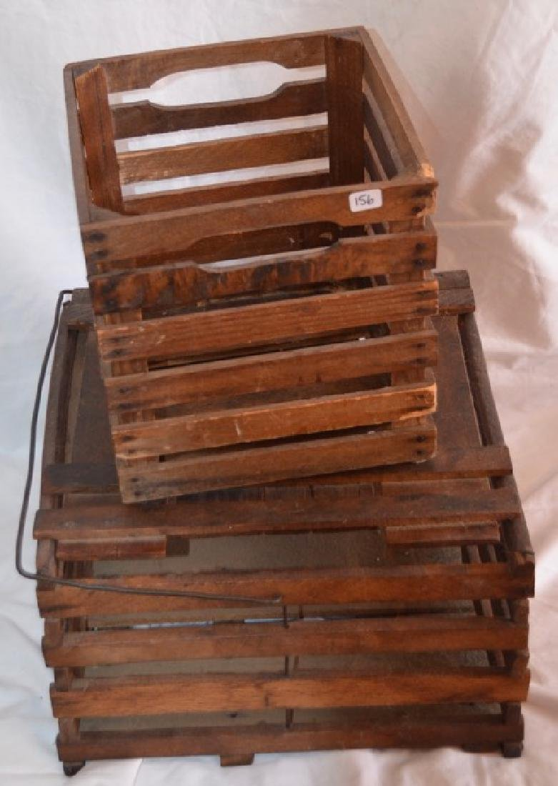 Two Wood Slat Boxes