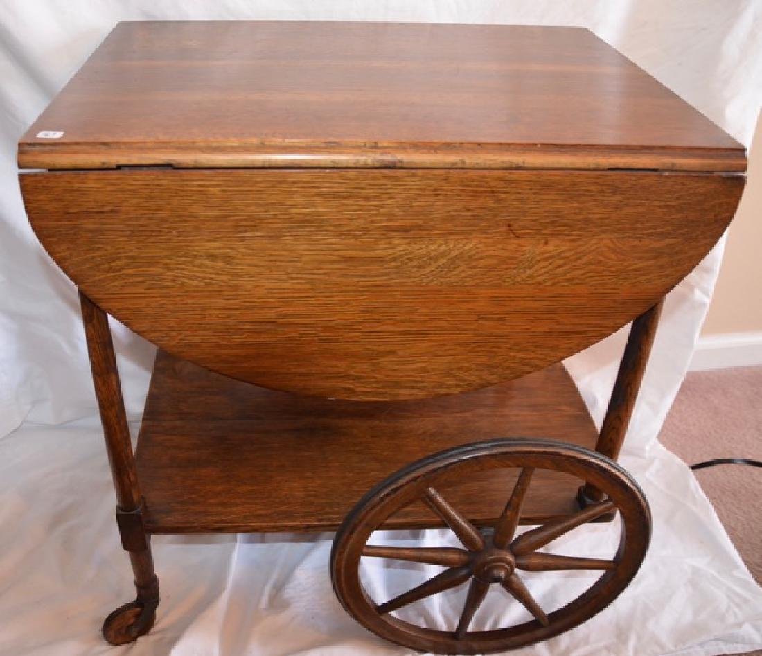 Antique Oak Rolling Cart