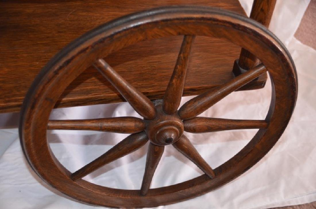 Antique Oak Rolling Cart - 2