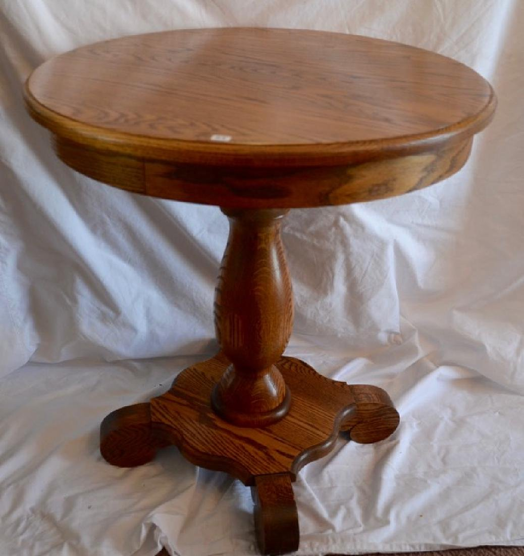 Oak Pedestal Occasional Table