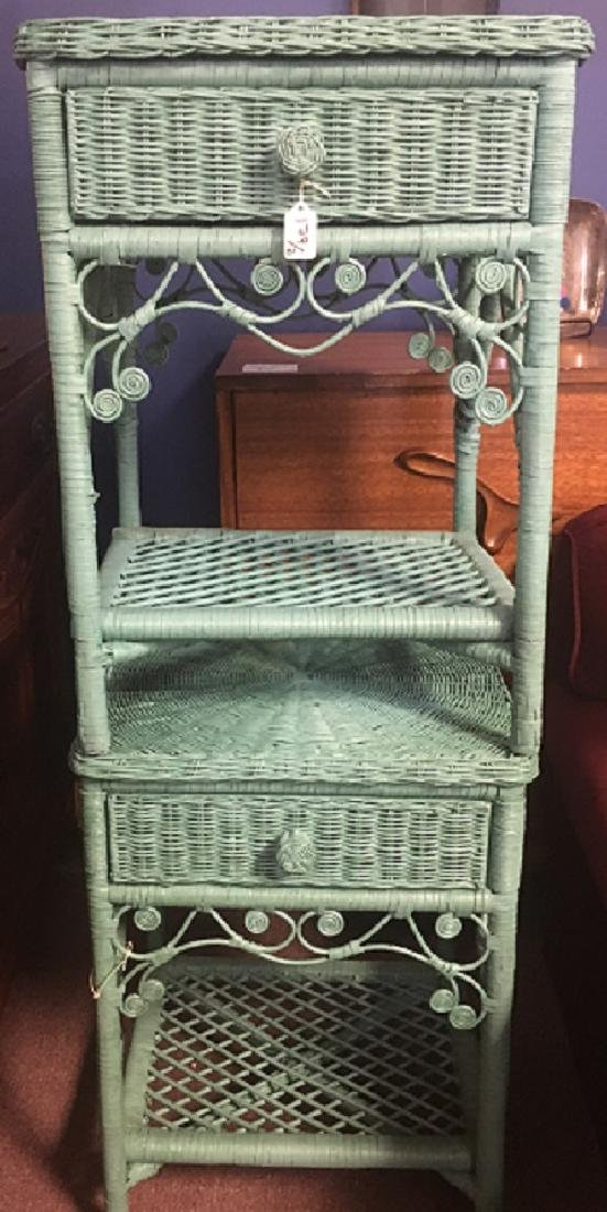 Turquoise Wicker Night Stands