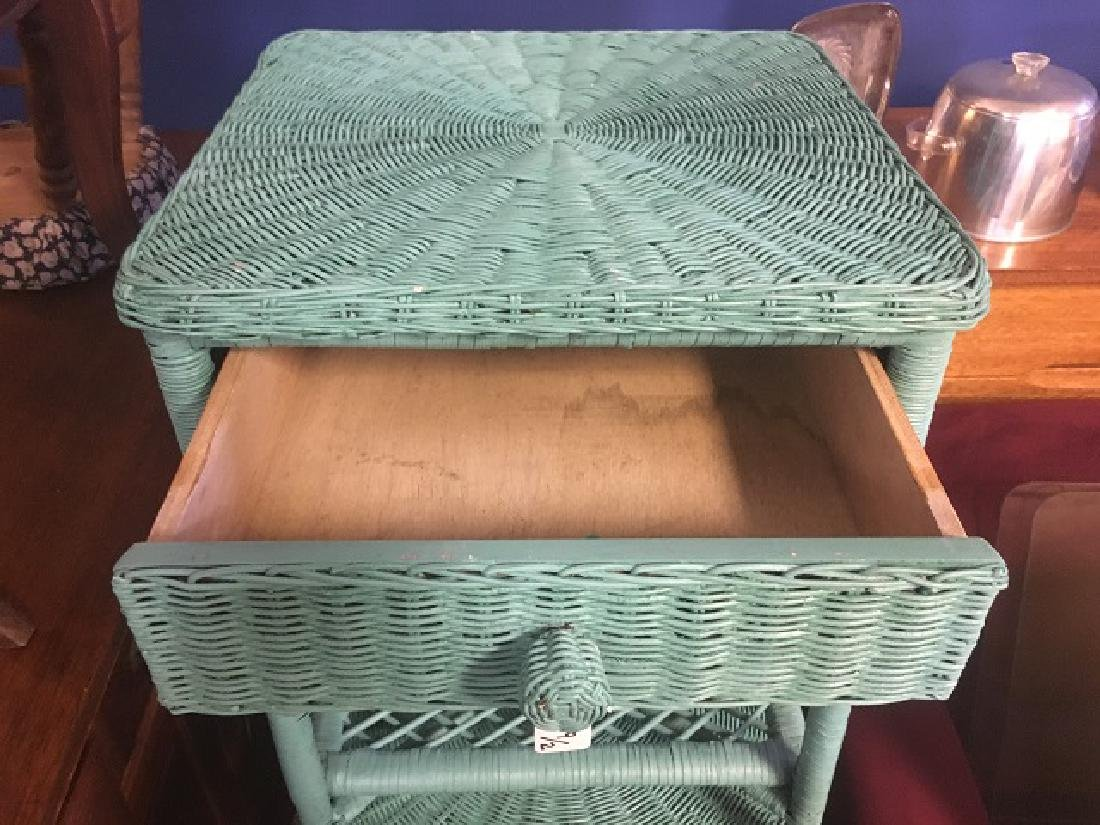 Turquoise Wicker Night Stands - 3