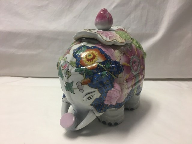 Chinese Floral Elephant and Planter - 9