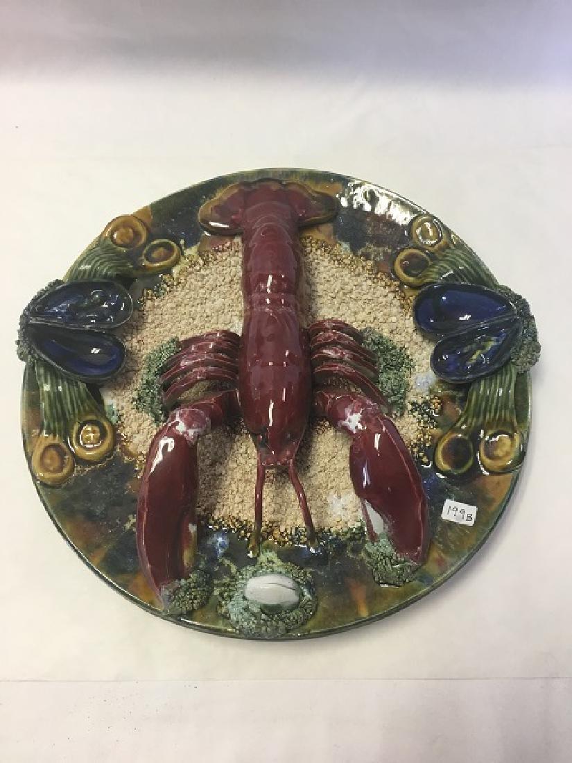 Vintage Majolica Palissy Ware Lobster Plate
