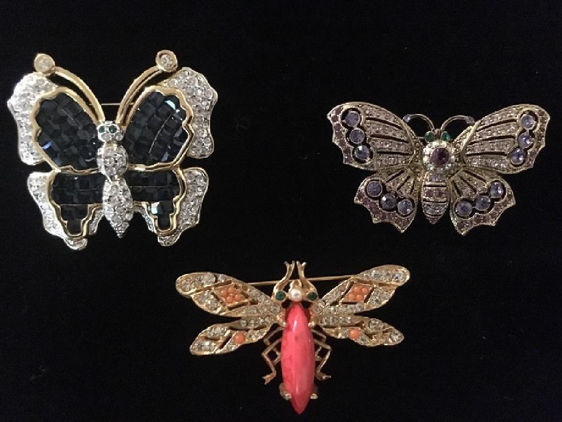 Three Multi-Color Rhinestone Bug Pins
