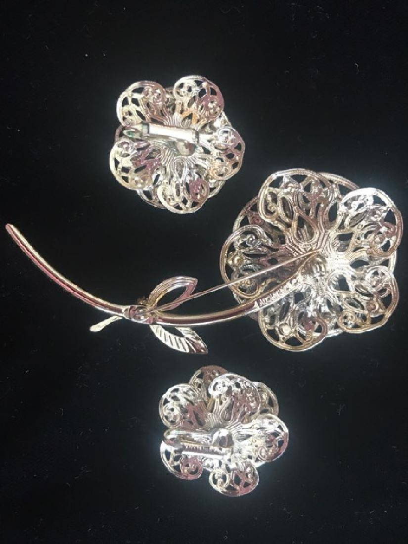 Sarah Coventry Floral Pin & Earrings - 2