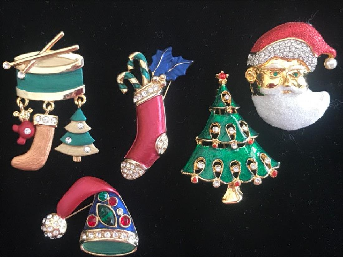Lot of 5 Christmas Pins