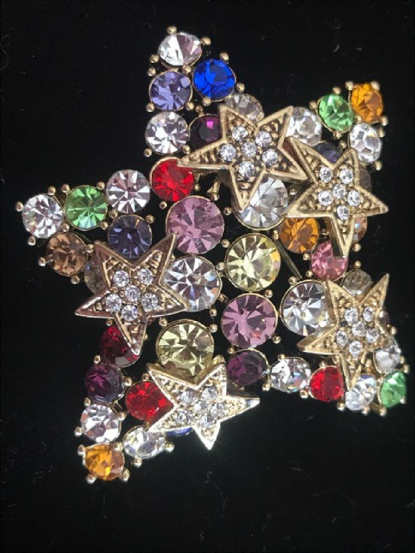 Multi-Colored Rhinestone Star Pin