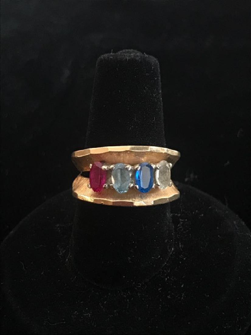 14K Gold 4 Stone Mother's Ring