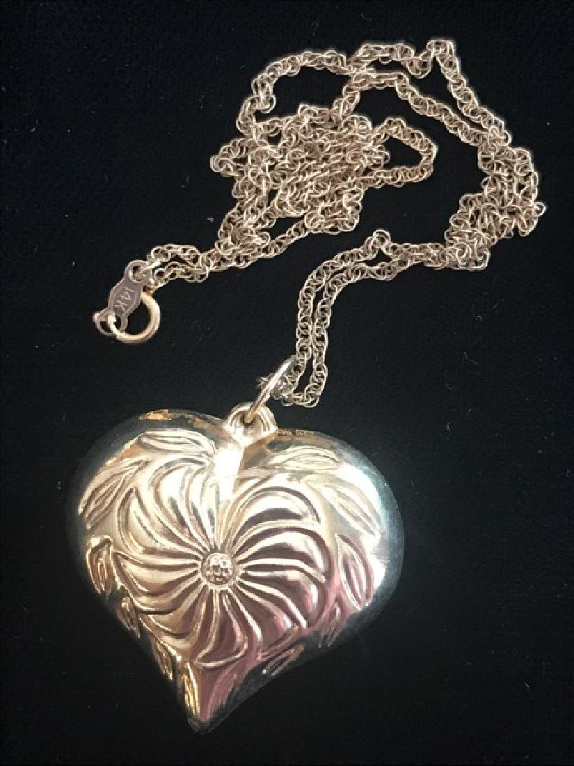14K Gold Heart on Chain