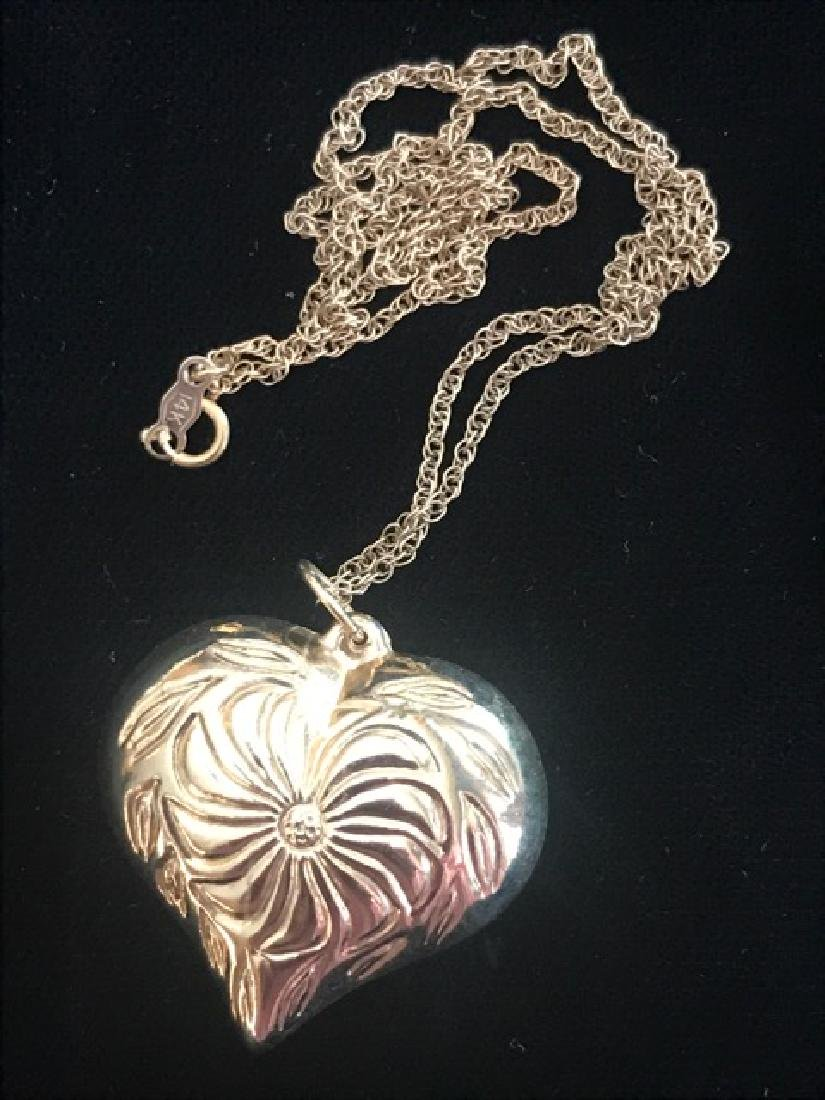 14K Gold Heart on Chain - 2