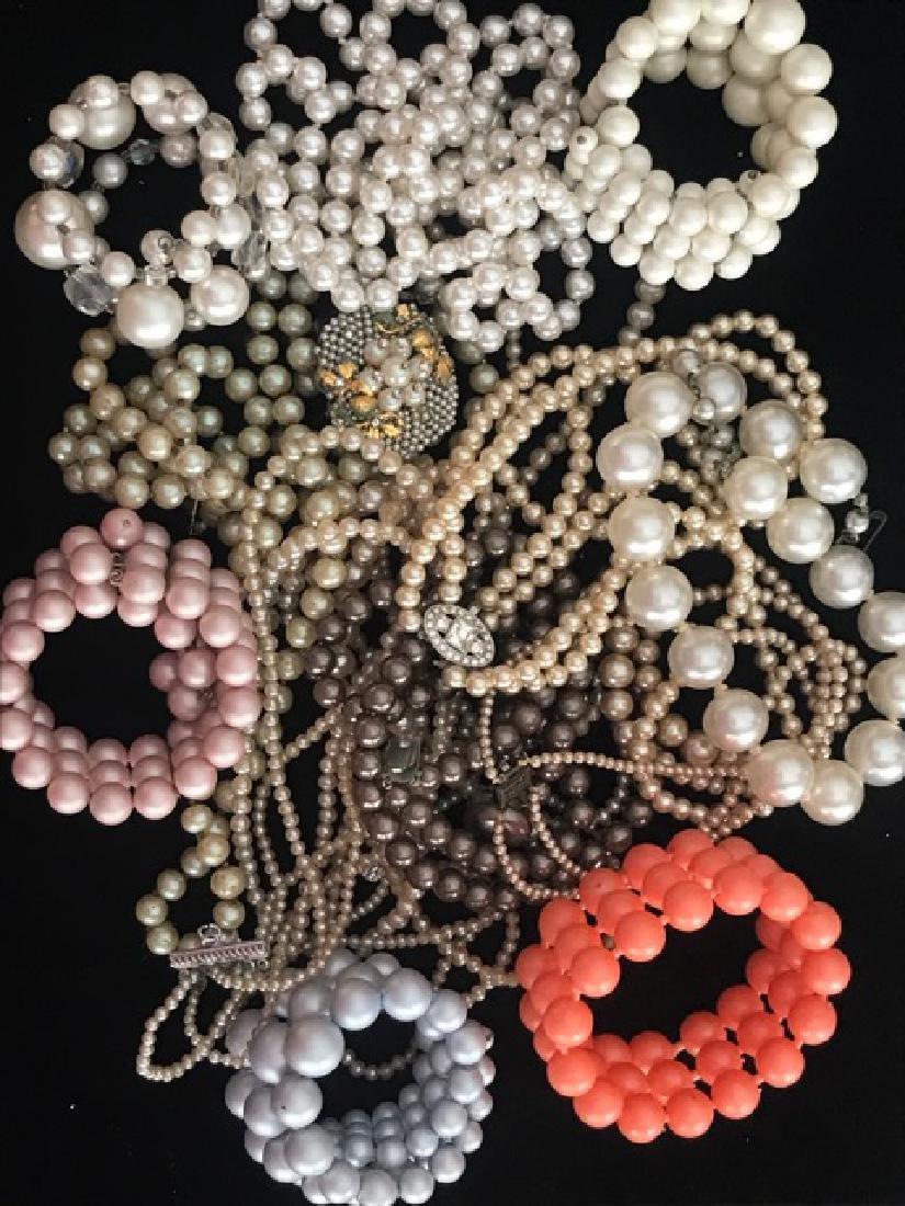 Bag Lot of Beads, Faux Pearl Necklaces, Bracelets