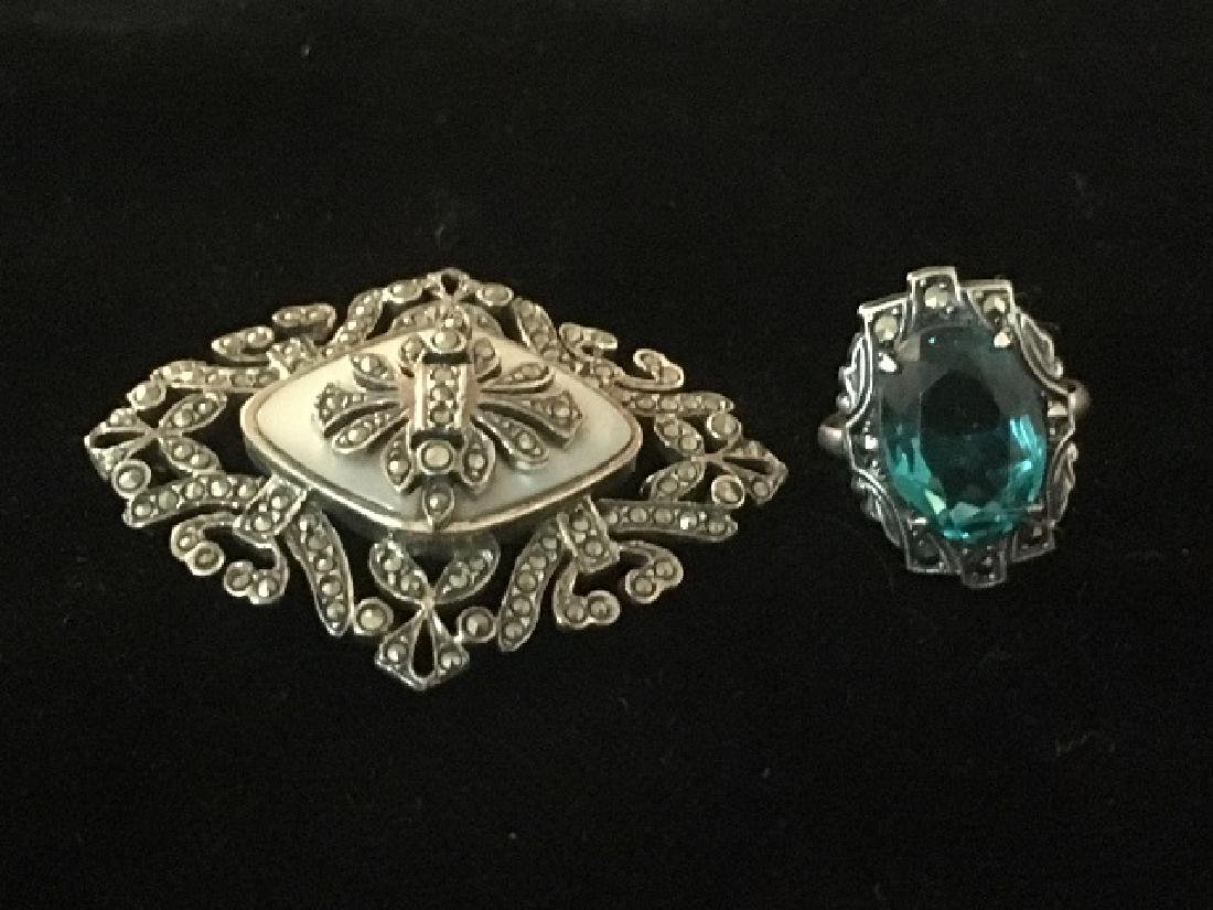 Vintage Marcasite Pin and Sterling Ring