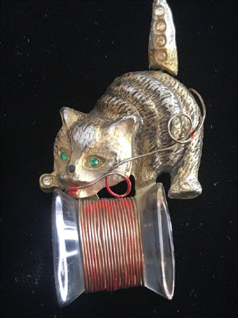 Vintage Cat Pin with Thread Spool