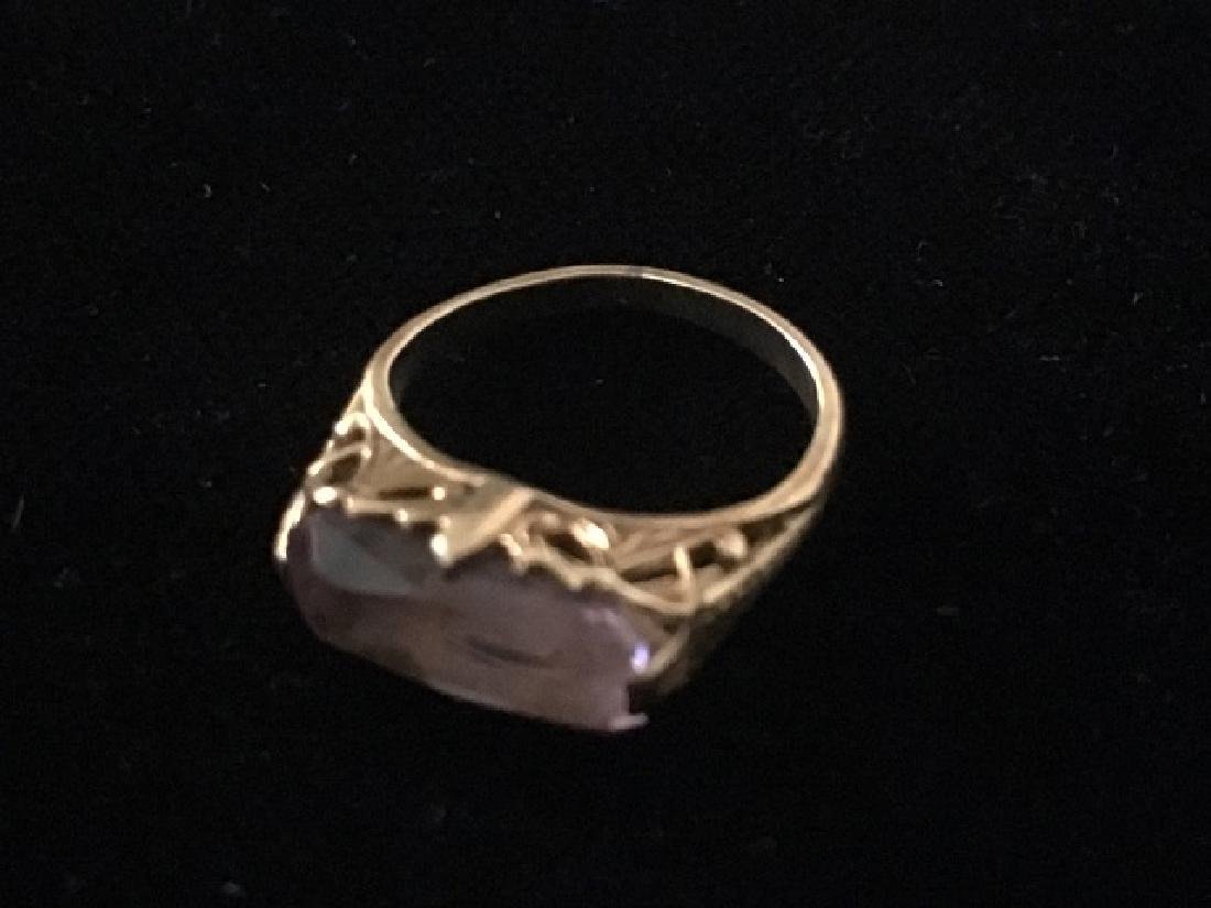 10K Gold & Amethyst Pinky Ring - 3