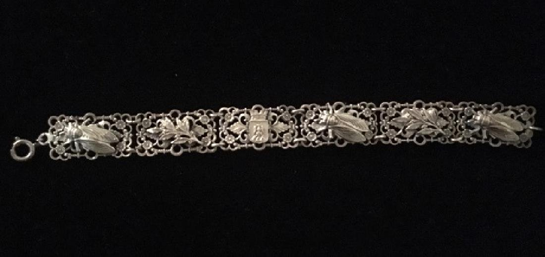 European Silver Bracelet and Sweater Pin - 9