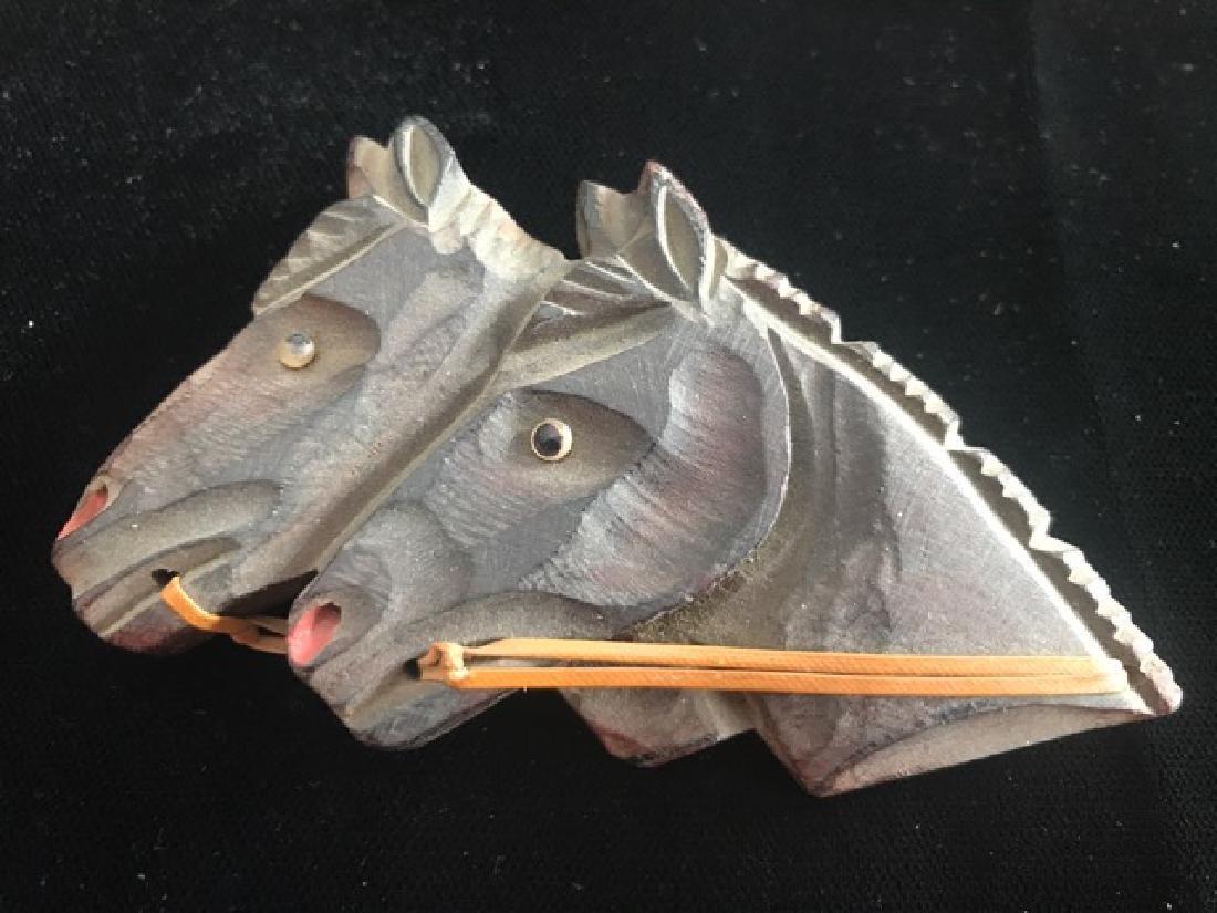Equestrian Wooden Horses Pin