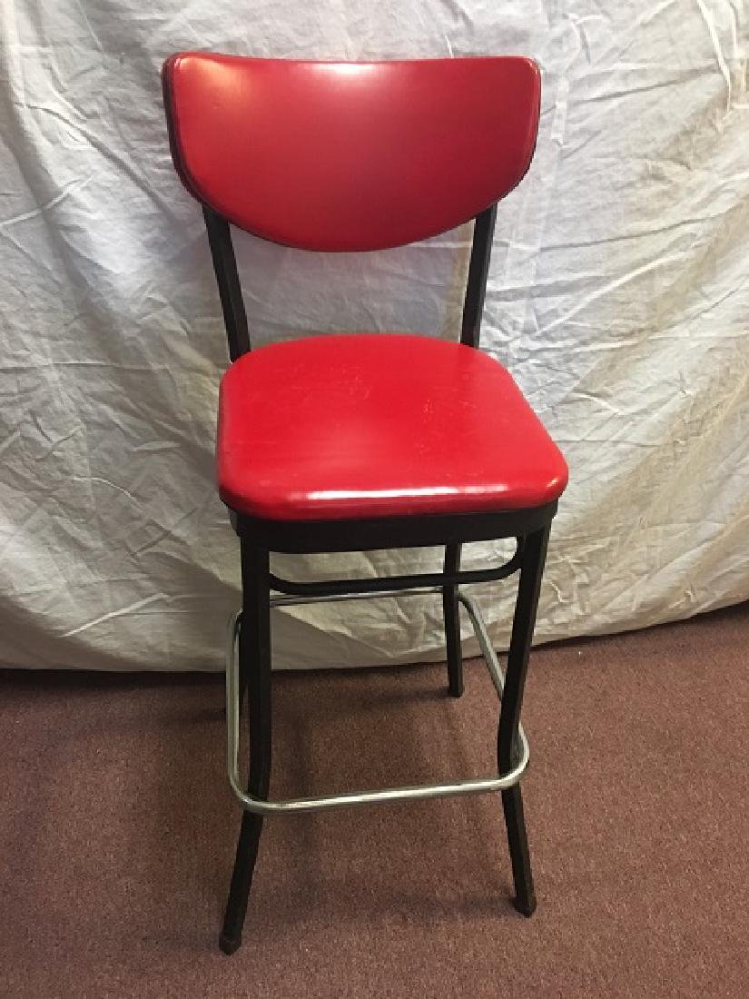 Pair Red Vinyl Bar Stools