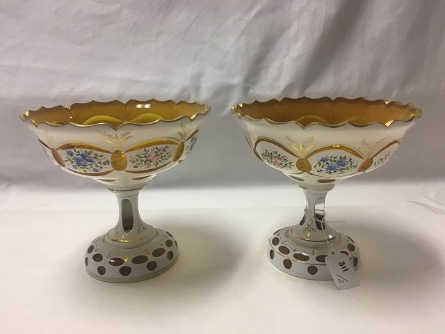 Two Bohemian Glass Pedestalled Bowls
