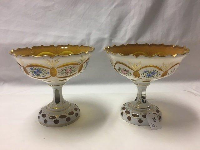 Two Bohemian Glass Pedestalled Bowls
