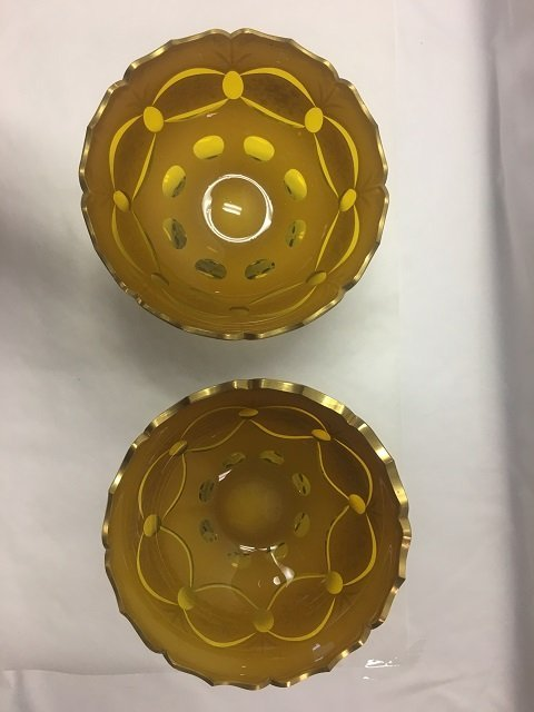 Two Bohemian Glass Pedestalled Bowls - 2
