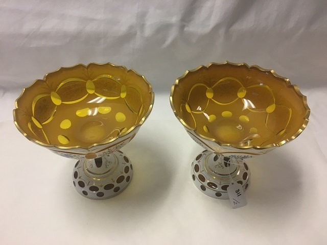 Two Bohemian Glass Pedestalled Bowls - 5