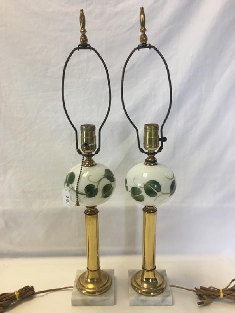 Pair of Hand Painted Milkglass Lamps