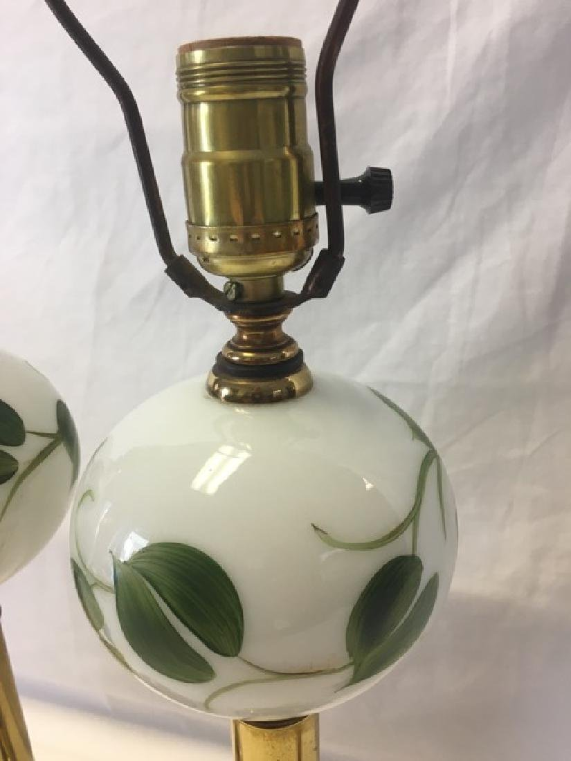 Pair of Hand Painted Milkglass Lamps - 3