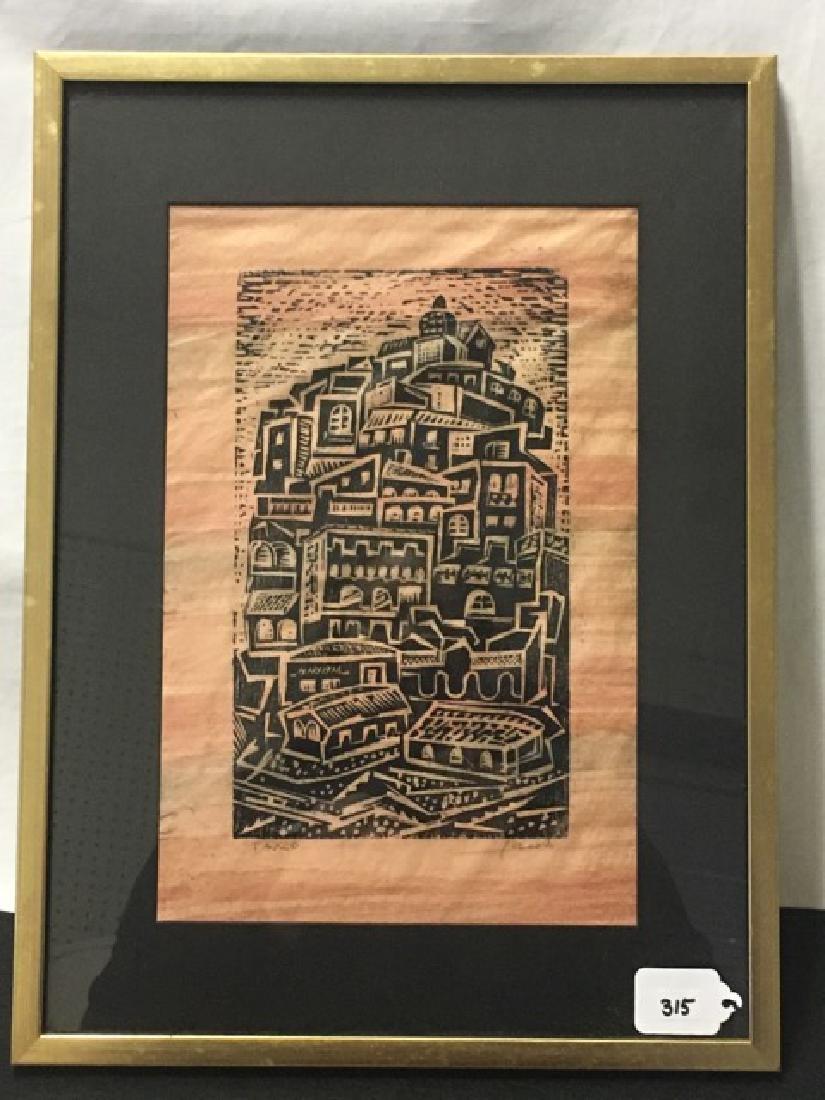 Woodblock Print Entitled Taxco