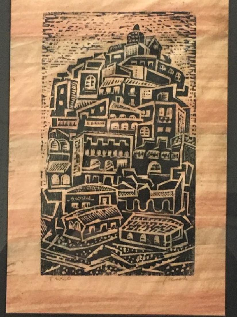 Woodblock Print Entitled Taxco - 2
