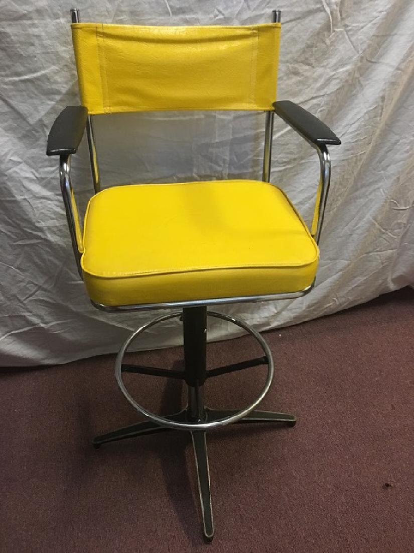 Yellow Vinyl and Chrome Bar Stools