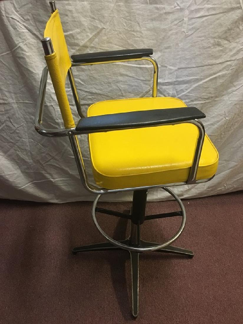 Yellow Vinyl and Chrome Bar Stools - 2