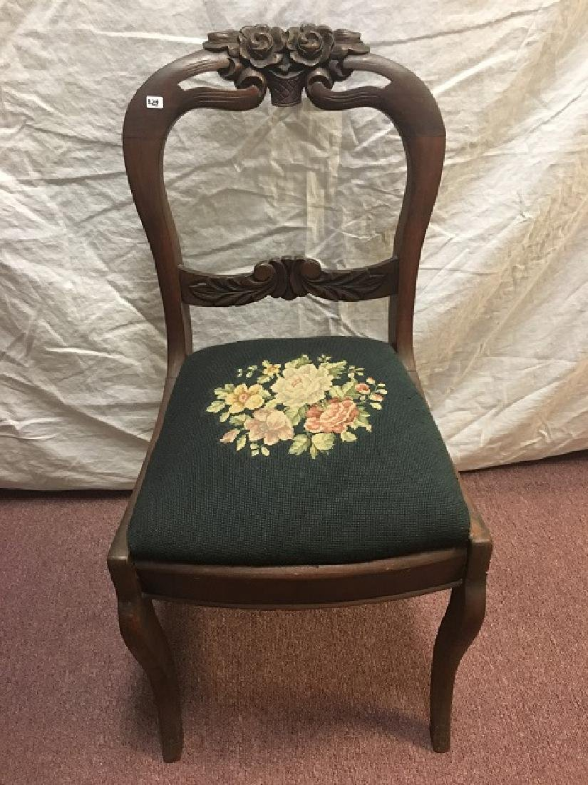 Victorian Carved Walnut Parlor Chair