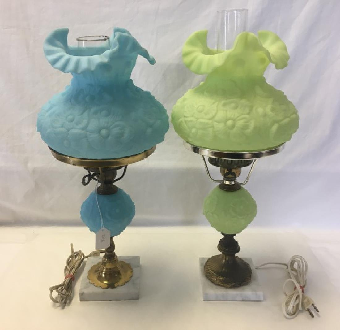 Pastel Colored Frosted Glass Boudoir Lamps (2)