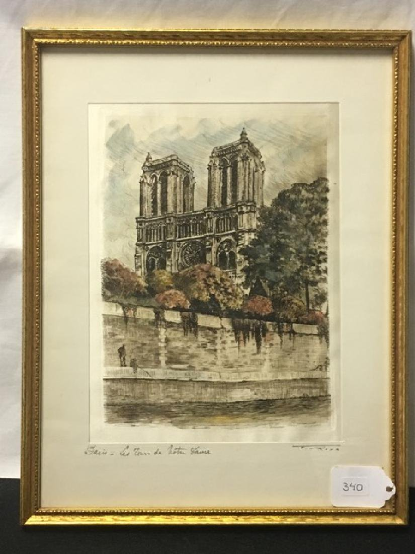 Hand Colored Etching Paris - Les Tours de Notre Dame