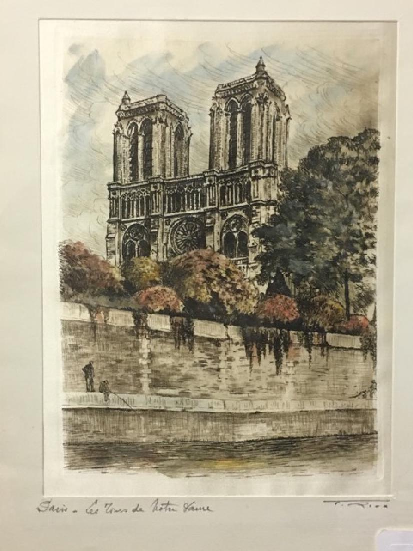 Hand Colored Etching Paris - Les Tours de Notre Dame - 2