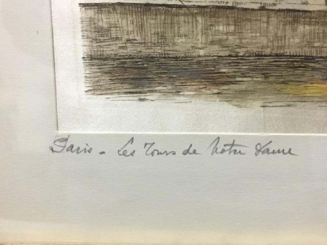 Hand Colored Etching Paris - Les Tours de Notre Dame - 3