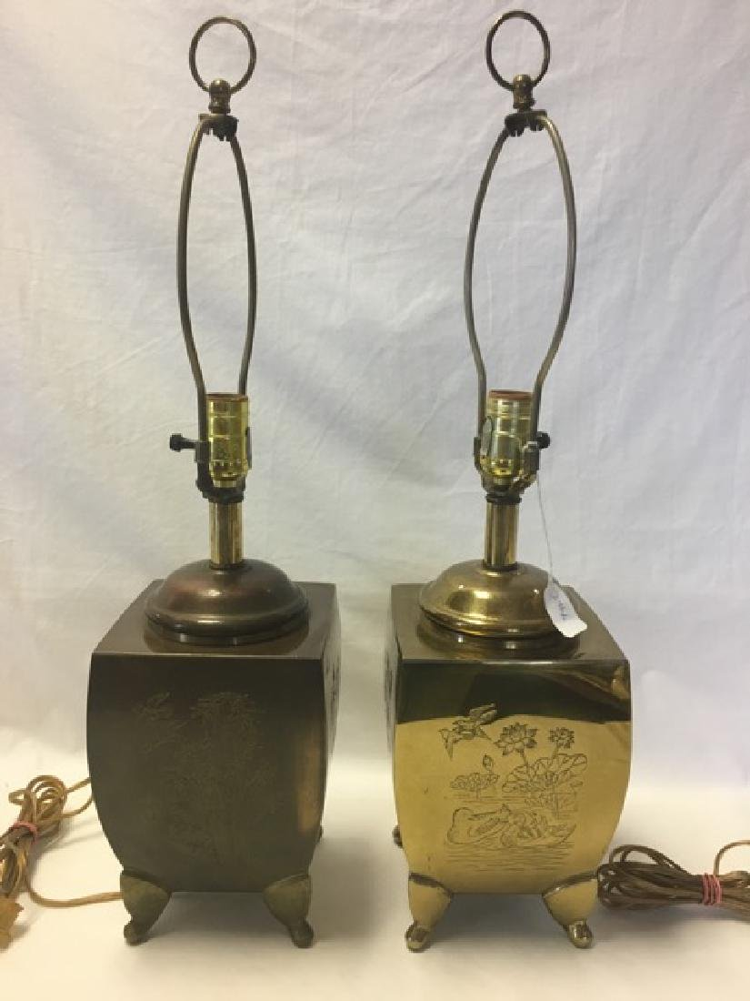 Pair Brass Engraved Table Lamps