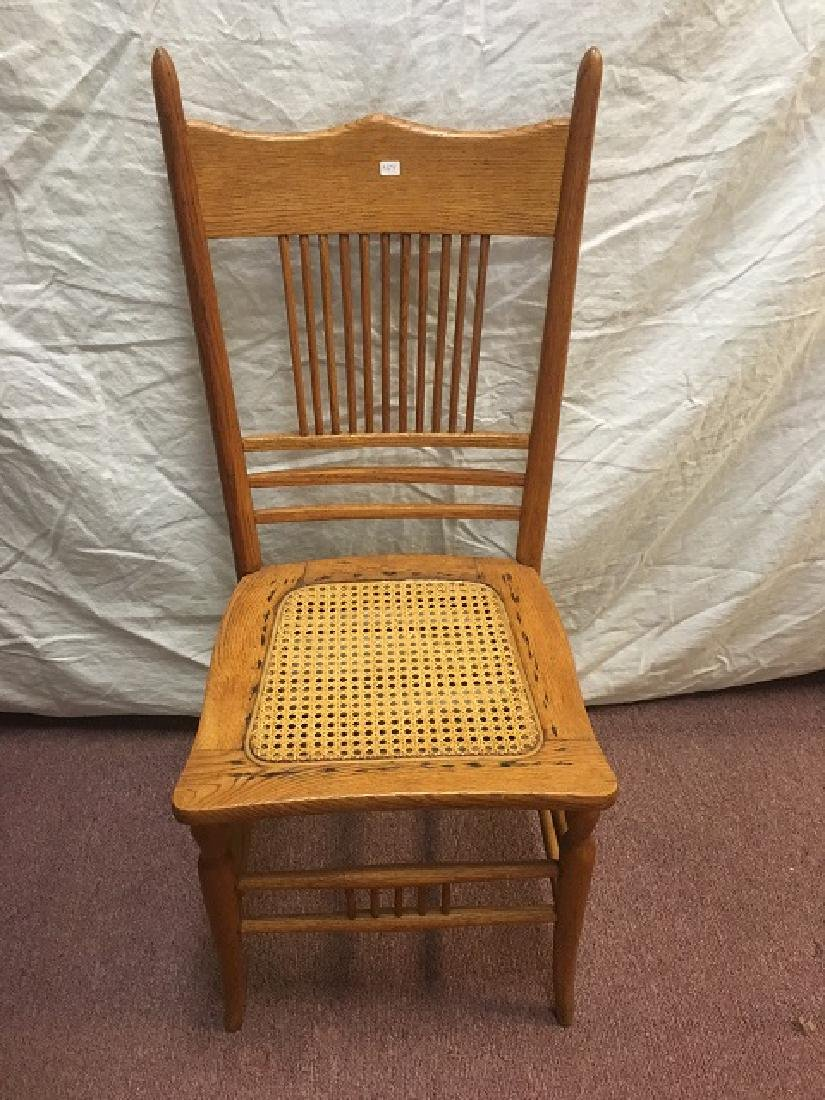 Victorian Oak Side Chair with Caned Seat