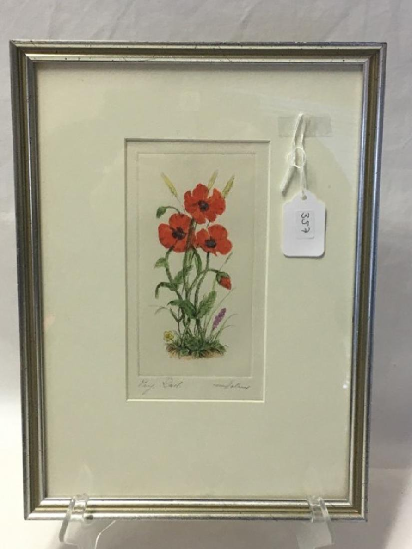 Watercolor - Poppies Signed Indiscernably