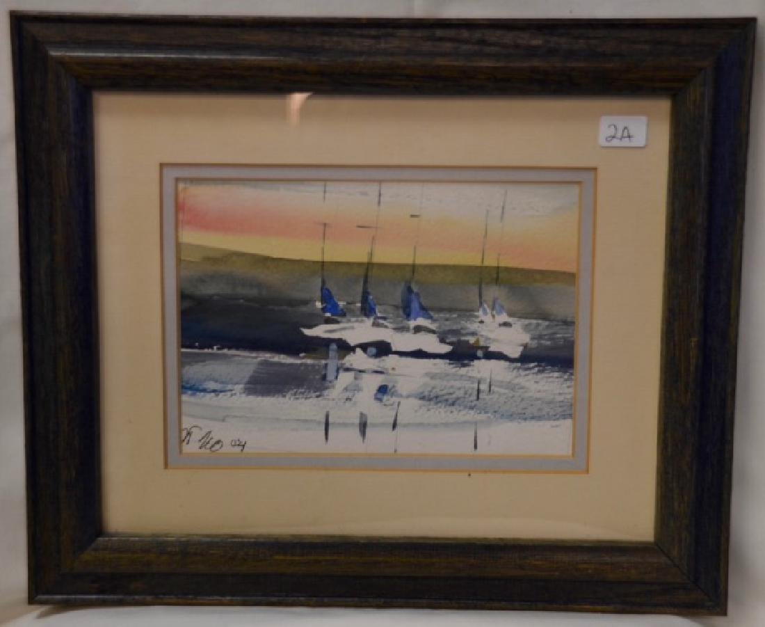 Watercolor, Sailboat, Sgd.  (indescern.) '04