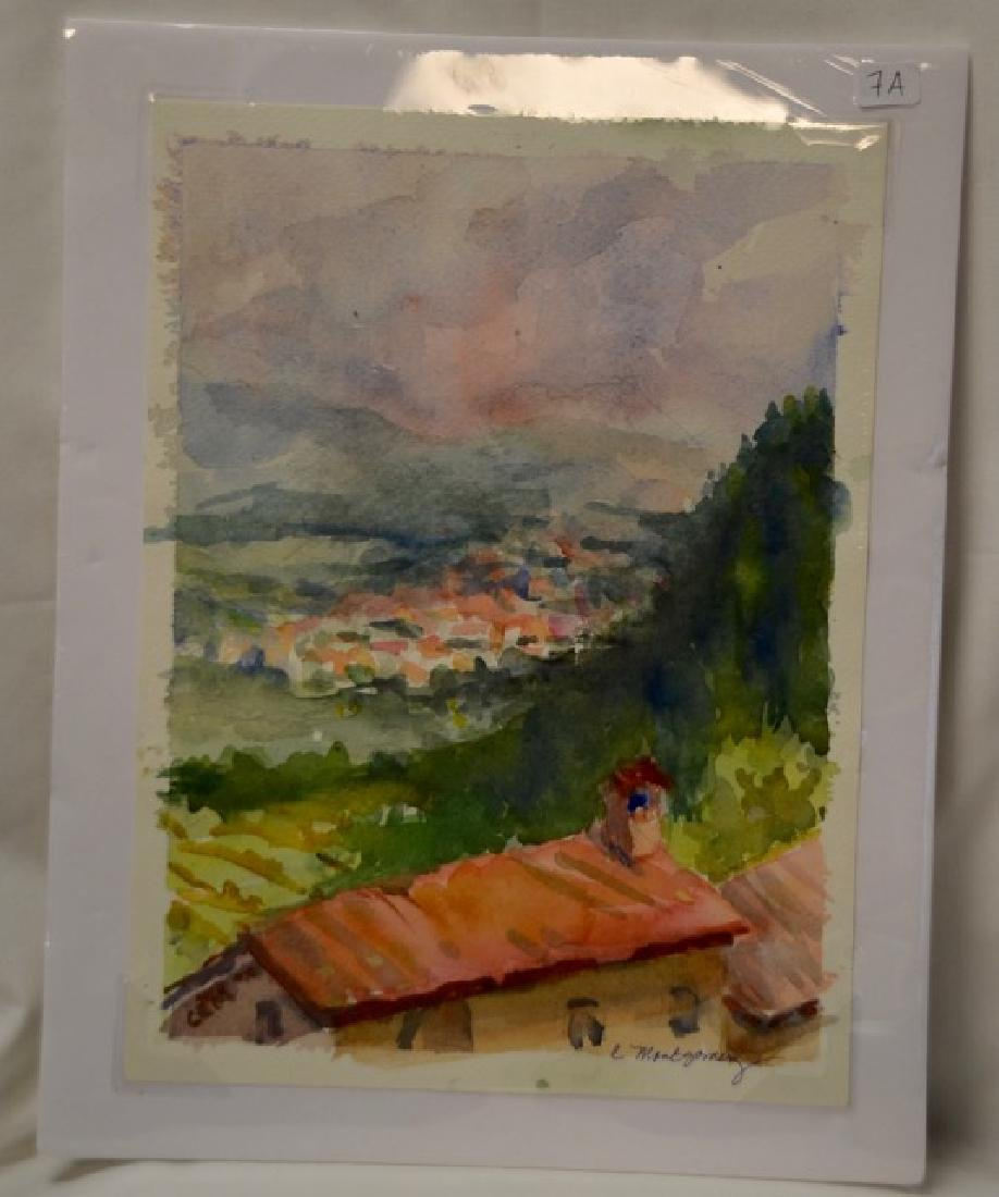 Watercolor, Umbrian Hill Town, Sgd.  Montgomery, C.