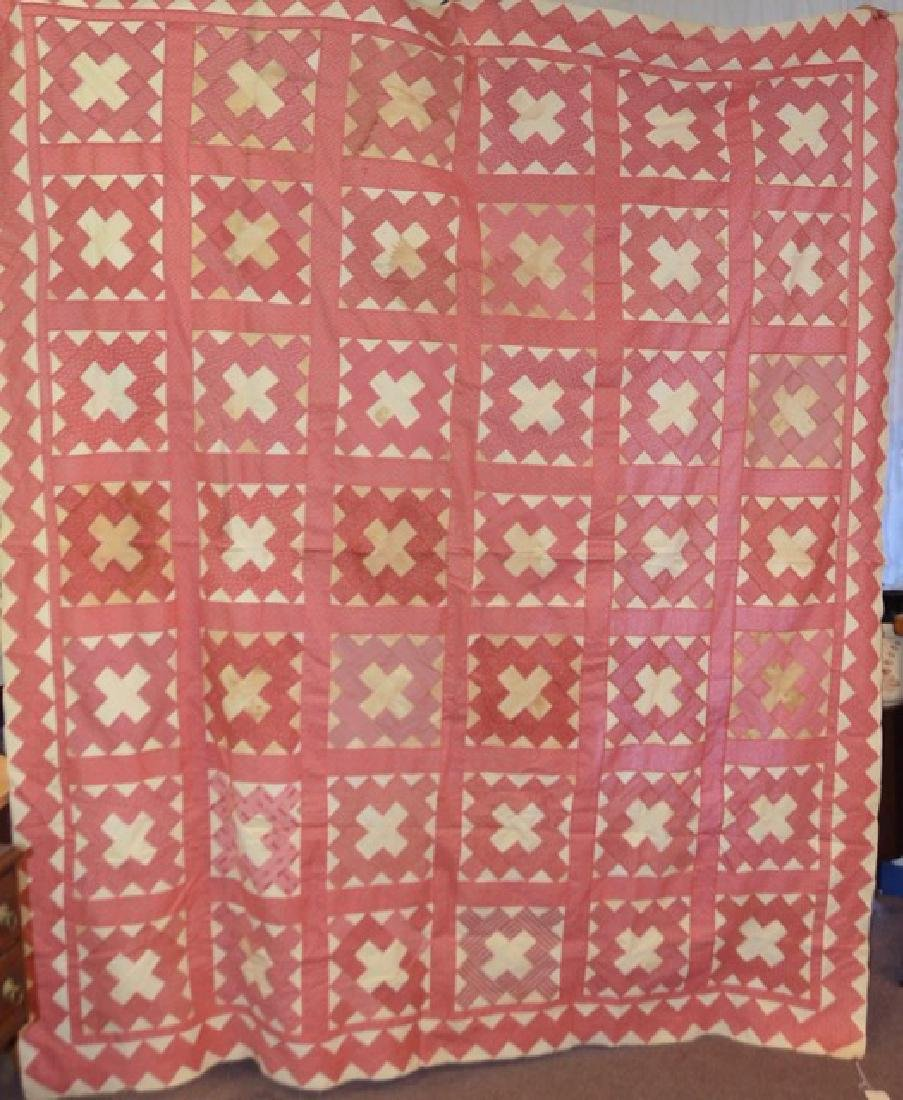 Antique Pink and White Quilt Topper