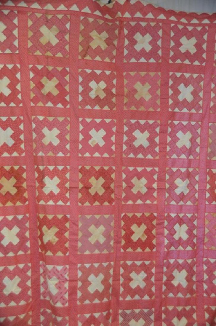 Antique Pink and White Quilt Topper - 2