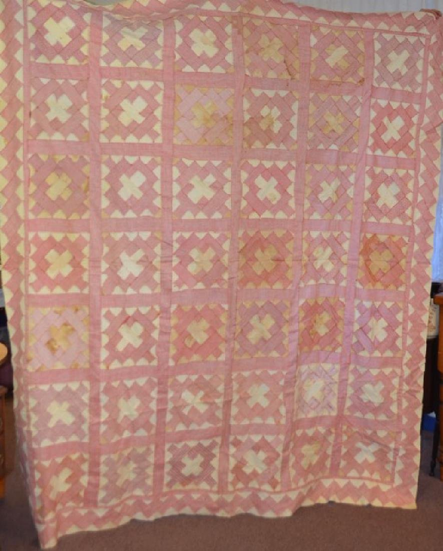 Antique Pink and White Quilt Topper - 3