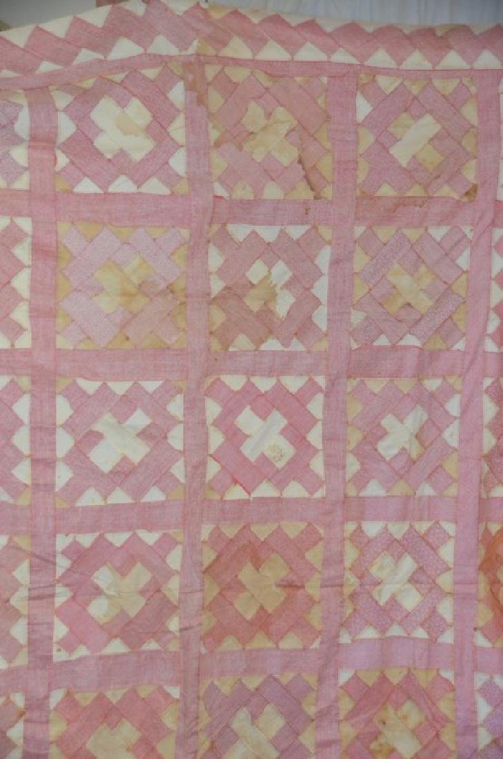 Antique Pink and White Quilt Topper - 4