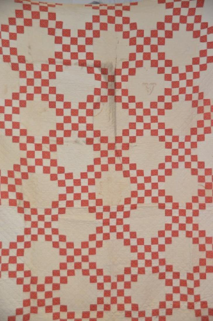 Salmon and Cream Colored Quilt - 2
