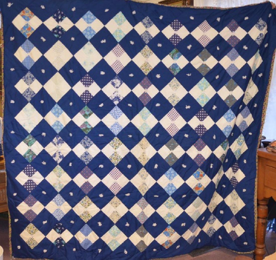 Yarn Tied Blue Quilt